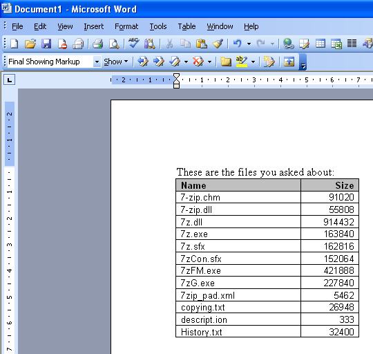 A list of files in Word